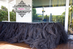 Black tulle table skirt