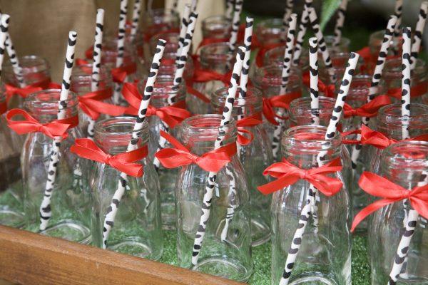 Mini milk bottles party decor hire Ballarat