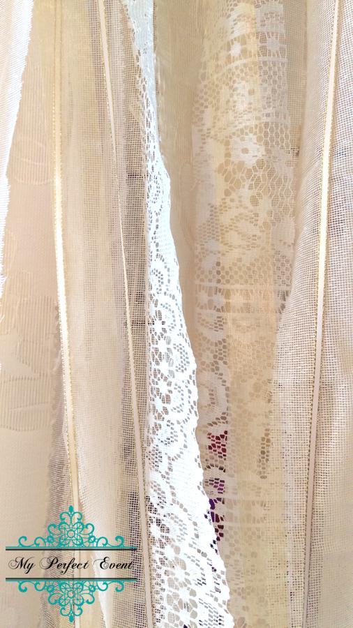 Vintage Lace backdrop wedding hire Ballarat