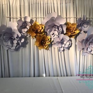 Gold & Mauve paper flower hire wedding styling Ballarat