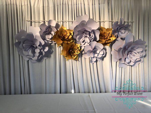 Gold & Mauve paper flower hire wedding styling Ballarat