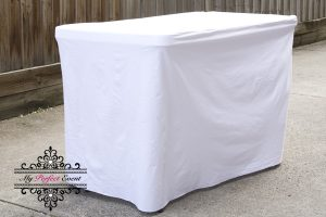 White fitted table cloth 120cm party hire Ballarat