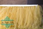 Gold tulle table skirt wedding decor hire Ballarat