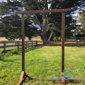 Rustic wooden wedding arch hire Ballarat