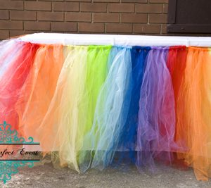 Tulle Rainbow table skirt 180cm party hire Ballarat