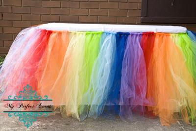 Tulle Rainbow table skirt 180cm party hire Ballarat