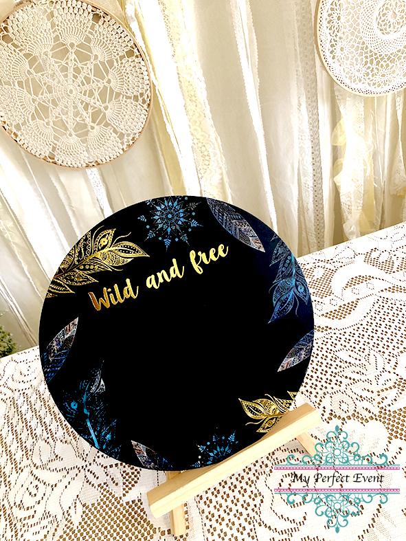 Chalkboard sign Boho wedding styling party hire Ballarat
